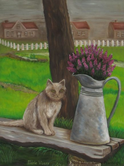 Admirable Cat On Garden Bench Marie Visser Paintings Inzonedesignstudio Interior Chair Design Inzonedesignstudiocom